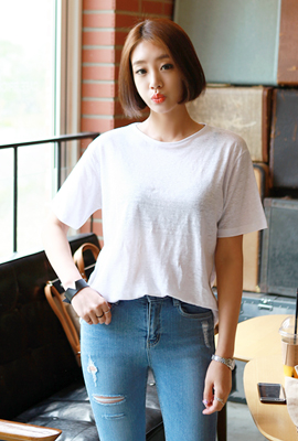 Linen colored round tee