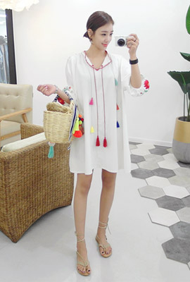 Flower color tassel dress (second stock)