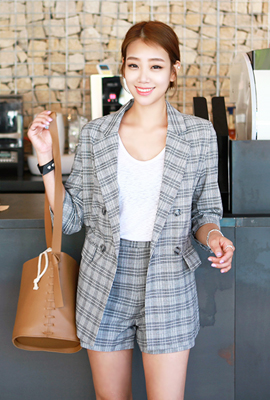 Check double jacket two-piece set (6th stock)