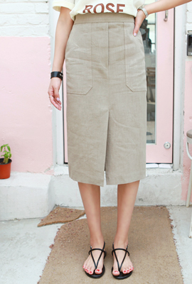 Linen Big Pocket Midi Skirt (2nd stock)