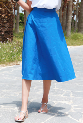 Vivid flared banding long skirt (9th stock)