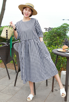 Gingham Double Pocket Shirring Long Dress