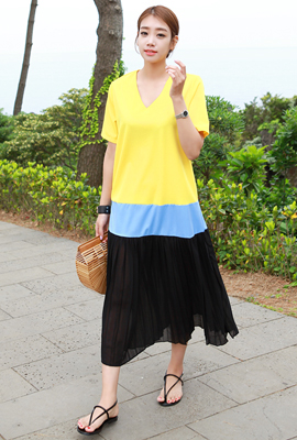 Color Pleated Long Dress (5th stock)