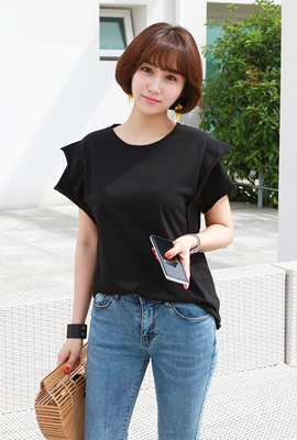 Shoulder Double Cutting Color Tee (2nd stock)