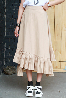 Unfleced Pleated Long Skirt