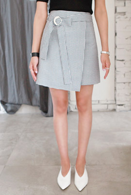 Gingham Check Belt Wrap Skirt