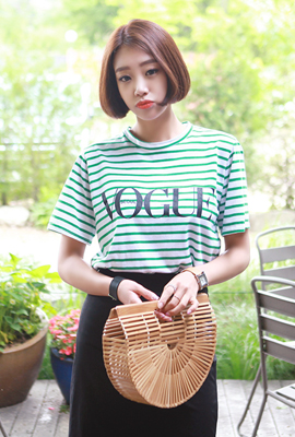 Borg striped short-sleeved tee (3rd stock)