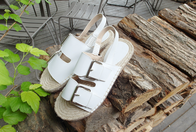 Leather buckle straw sandals (second stock)