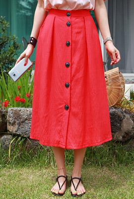 Button Flare Banding Long Skirt
