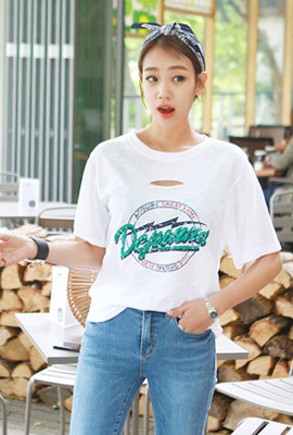 Vintage flame hole cutting short sleeve tee