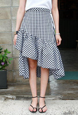 Gingham unfolded flared skirt (4th stock)