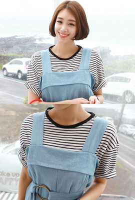 Cotton striped short-sleeved tee