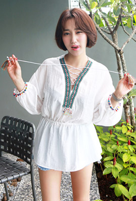 Ethnic colored bead blouse
