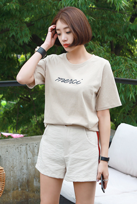 Merci Lettering short sleeve tee
