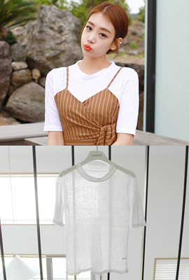 Round Linen Color Short Sleeve Tee