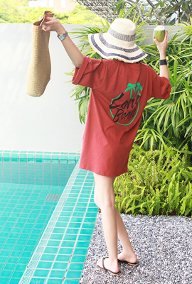 Long-sleeved short-sleeved palm tree
