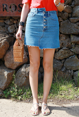 Uniform button denim skirt