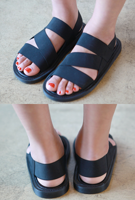 Angled Banding Strap Sandals