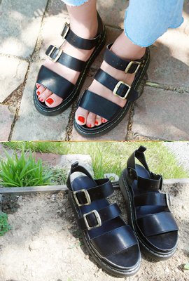Three-Strap Leather Tongue Sandal