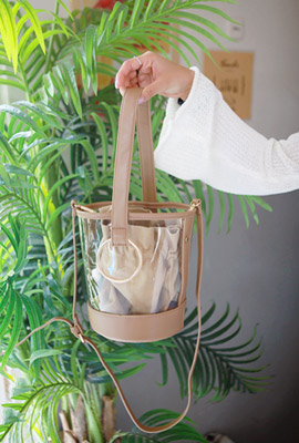 Circle ring transparent cylindrical tote bag