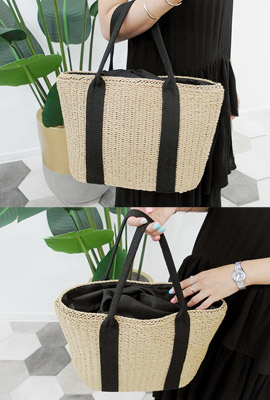Straw Double Line Tote (HAND MADE)