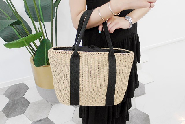 Straw Double Line Tote (HAND MADE) (2nd stock)