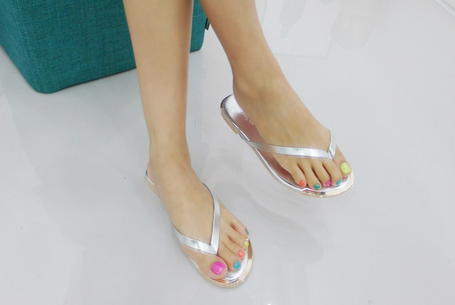 Colored Leather Gold Slipper (5th stock)