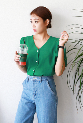 Puff button blouse (8th stock)