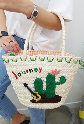 Journey embroidery straw tote bag