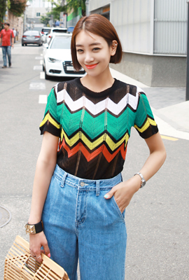 Zig Zag color knit short-sleeved tee (second stock)