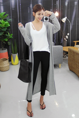 Plain open long cardigan (49 car stock)