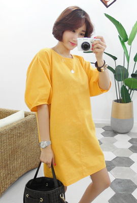 Linen Balloon Sleeve Dress (11th stock)