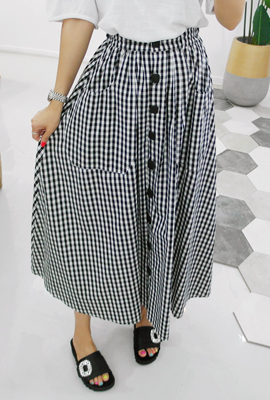 Gingham Square Button Long Skirt (5th stock)