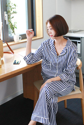 Striped silk pajama set