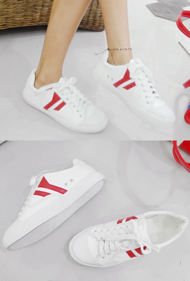 Double Line Leather Sneakers
