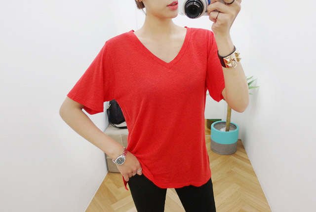 V neck linen color short sleeves T (135 pieces stock)