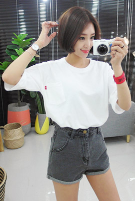 One-pocket color short sleeves T (3 stock)