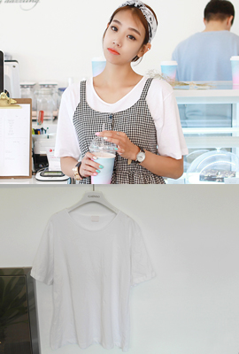 Normal color short-sleeved tee