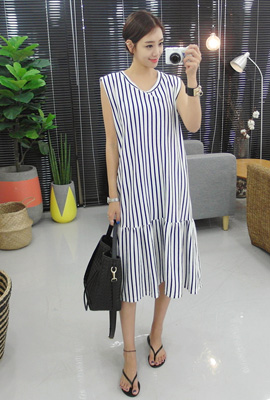 Striped flare long dress (4th stock)