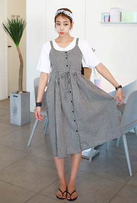 Gingham bustier long dress (4th stock)