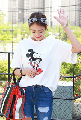 Star Mickey Hemming short sleeve shirt (Disney genuine)