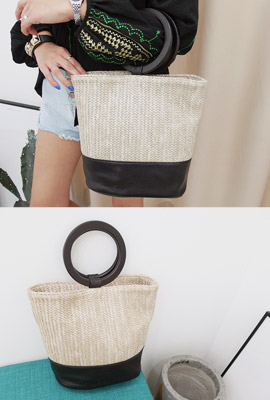 Woodling Straw Tote Bag