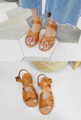Cross leather strap sandals