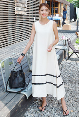 Double line navy long dress (8th stock)