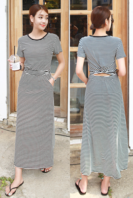 Striped twisted long dress (5th stock)