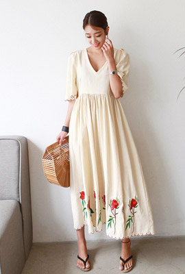 Rose Embroidery Shirring Long Dress (6th stock)