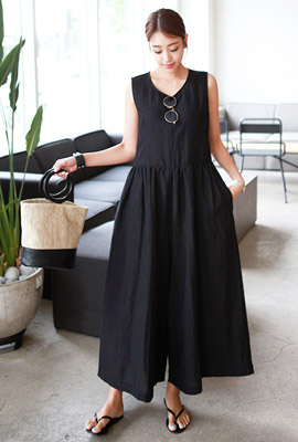 Linen Shirring Wide Jump Suit (3rd stock)