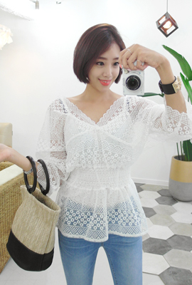See-through lace blouse set (2nd stock)