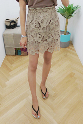 Flower punching banding skirt