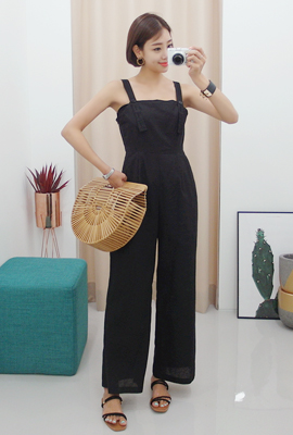 Linen Button Strap Jump Suit